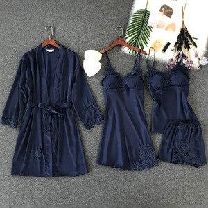 Image 5 - Lisacmvpnel 4 Pcs Ice Silk Pajama Set With Pad Nightgown+Cardigan+Short Set Lace Sexy  Pyjama For Women