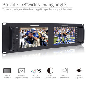 Image 3 - Feelworld D71 H Dual 7 inch HDMI AV 3RU Rack Mount Broadcast Monitor IPS HD 1280x800 LCD Displaying Thin Design with LAN In Port