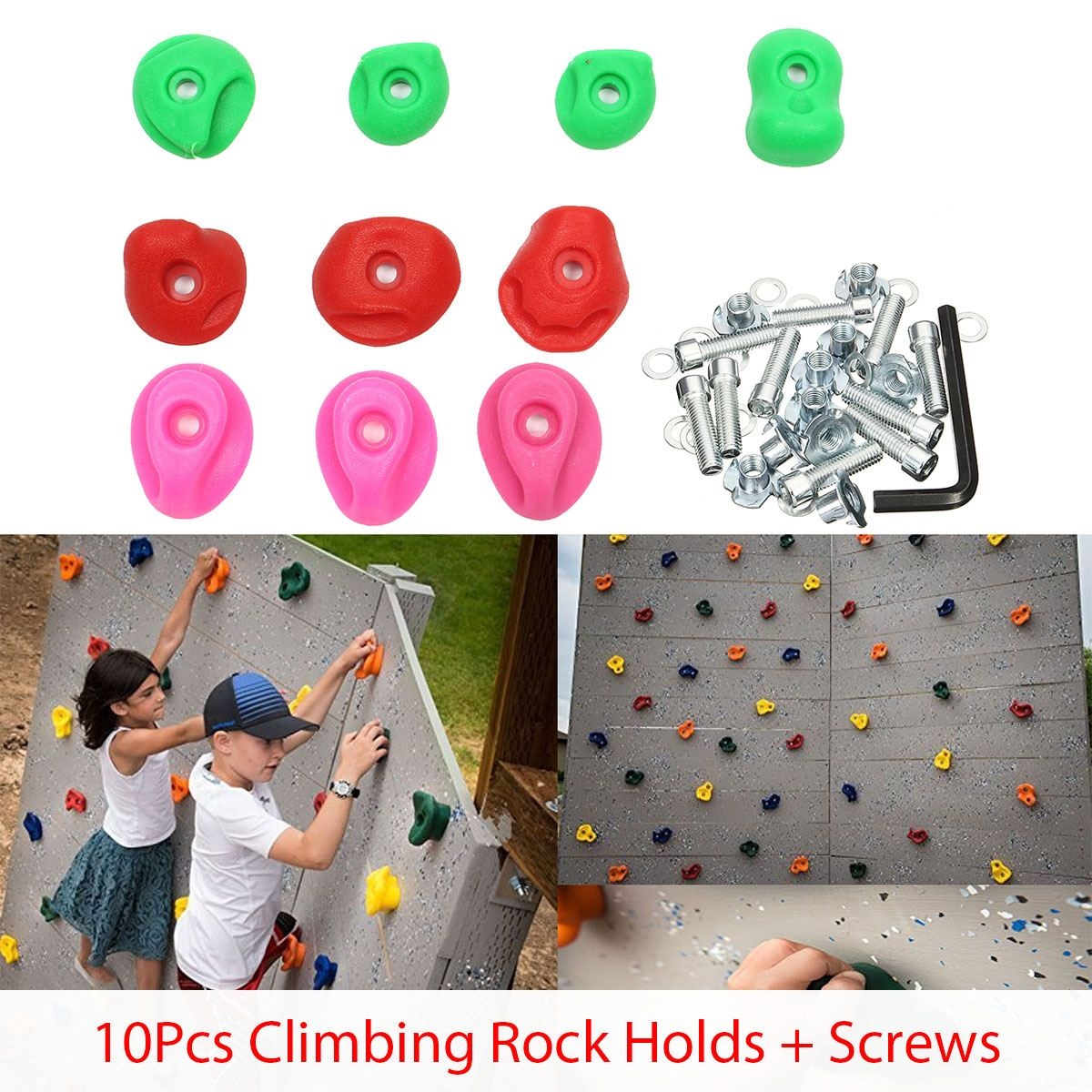 10pcs Plastic Climbing Rock Wall Stones Children Kids Toys Climbing Tool Hand Feet Holds Grip Kits With Bolts Outdoor Indoor Toy10pcs Plastic Climbing Rock Wall Stones Children Kids Toys Climbing Tool Hand Feet Holds Grip Kits With Bolts Outdoor Indoor Toy