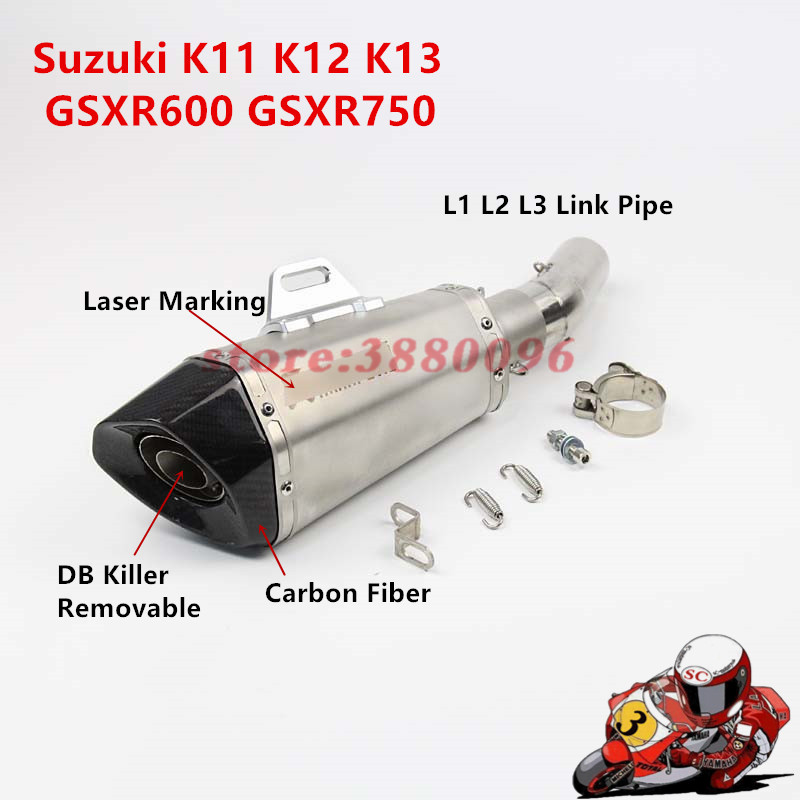 Motorcycle Accessories & Parts K11 K12 K13 Motorcycle Exhaust Middle Link Pipe Carbon Fiber Muffler With Sticker For Suzuki Gsxr600 Gsxr750 L1 L2 L3 2011-2013
