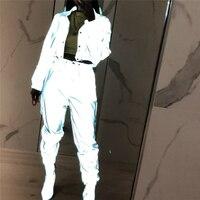 Хип поп уличная одежда 2 шт. женские модные Светоотражающие наряды укороченные топы и брюки комплекты одежды комбинезон 2 стиля ночной клуб ...