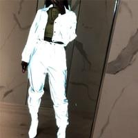 Хип поп уличная 2 шт. для женщин Мода Светоотражающие наряды укороченный Топы корректирующие брюки для девочек наборы ухода за кожей