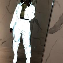 ヒップポップストリート 2 個女性のファッション反射衣装クロップトップスパンツセット服遊び着 2 スタイルナイトクラブ着用