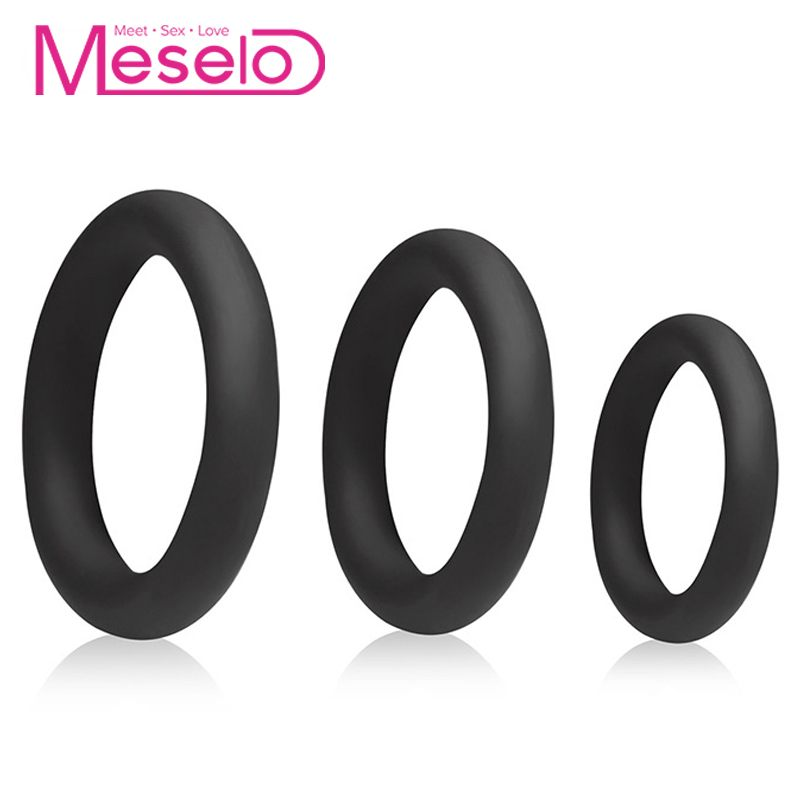 Meselo 3 Sizes Silicone Rings Set For Men <font><b>Penis</b></font> Delayed <font><b>Ejaculation</b></font> Training Soft Cockring Sex Toys For Men Gay Erotic Products image