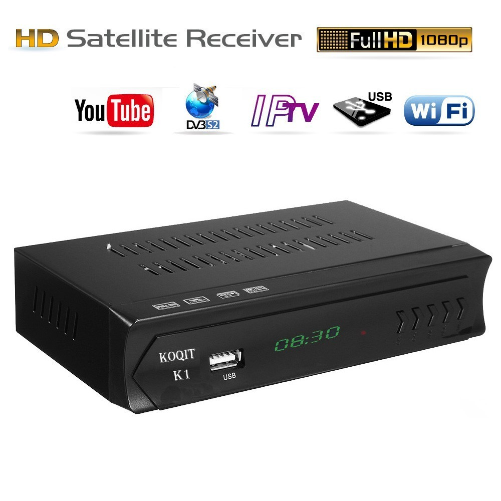 KOQIT K1 Receptor Digital TV Box FTA DVB-S2 Satellite Receiver Tv Tuner IPTV M3u USB Ethernet Wifi Youtube Cline Decoder Biss Vu