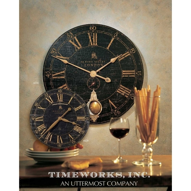 Uttermost Bond Street 18″ Black Wall Clock