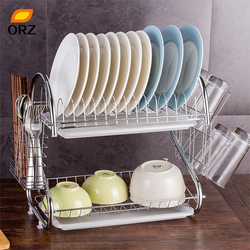 ORZ Kitchen Dish Drainer Rack 2 Tier Tableware Drying Rack Utensil Holder Metal Storage Shelf Kitchen Accessories Organizer