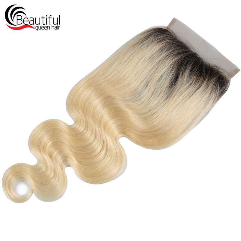 Красивая Королева 10A бразильские человеческие волосы кружева 5*5 тело волна Кружева Закрытие 1B/613 # бесплатная часть девственные волосы кружева отбеленные узлы 10-20