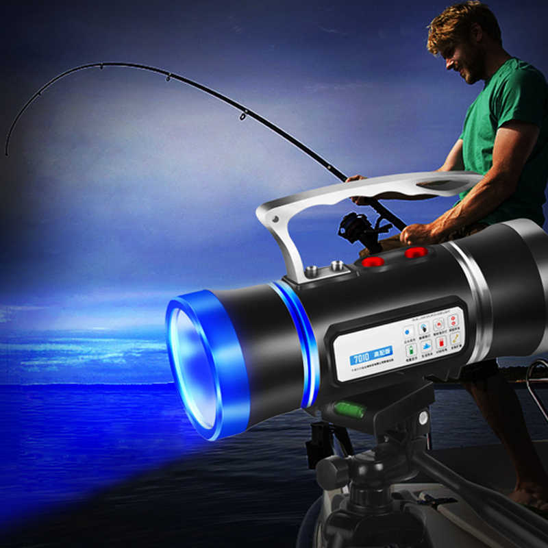 LED searchlight White/Blu-ray Xenon fishing light more 500 meters Built-in USB rechargeable lithium battery Mosquito repellent