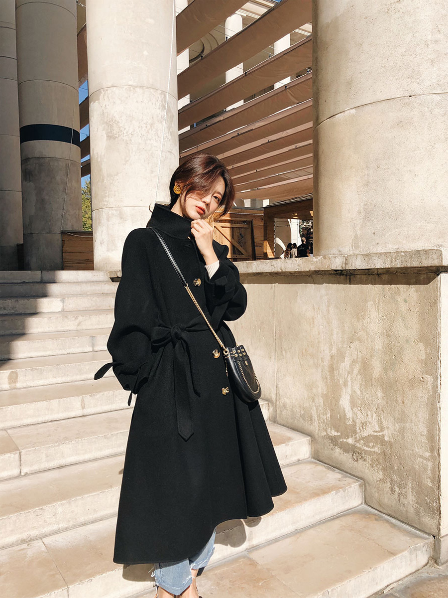 Long 2018 face Femme Hepburn Double Manteau Hiver Laine Mode Main Noir De Pleine Vert Jaune Style Automne Brw7OqBn