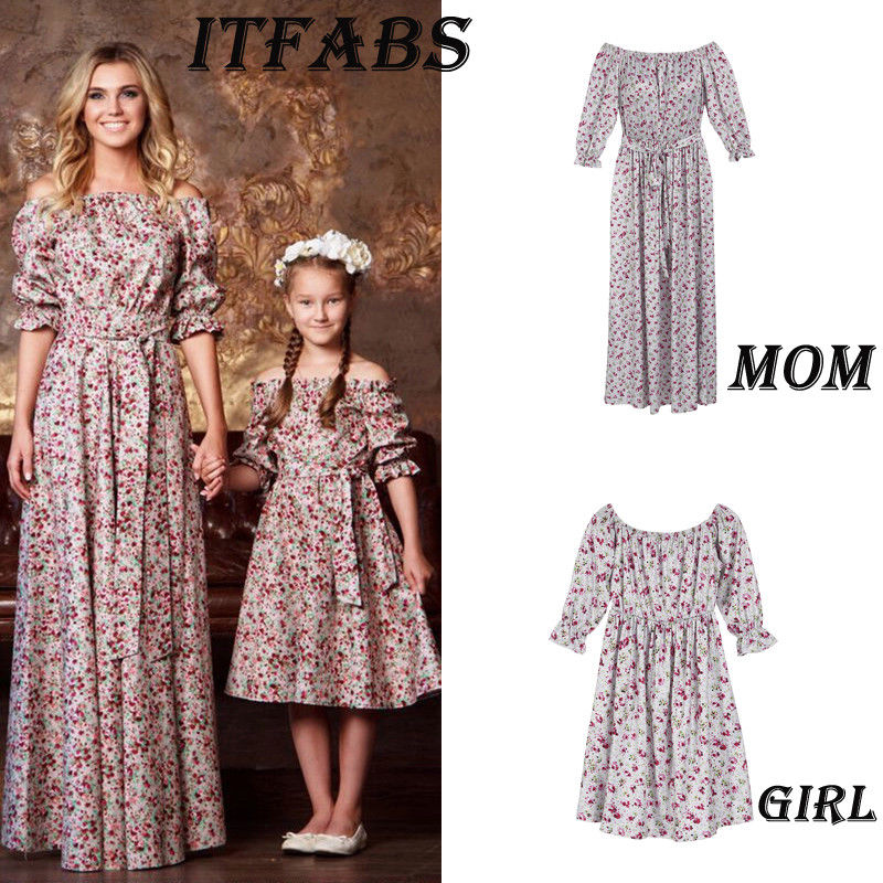 Hot Mother and Daughter Dress Floral Matching Mom Girls Madi Dress Family Skirt Family Matching Outfits