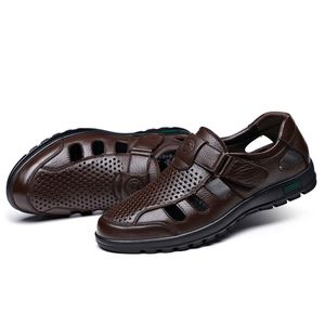 Image 2 - FGGS Genuine Leather Men Sandals Shoes Fretwork Breathable Fisherman Shoes Style Retro Gladiator Soft Bottom summer Classics m