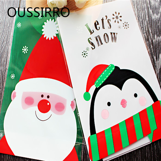 Us 1 59 20 Off 10pcs Santa Claus Penguin Christmas Gift Treat Bags Plastic Cookies Biscuits Candy Packaging Bag Birthday Party Wedding Favor In Gift