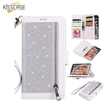KISSCASE Glitter Wallet Case For Samsung Galaxy S10 Lite S9 S8 Plus S7 Edge A6 2018 Leather Flip Phone Cover Card Slot Capa