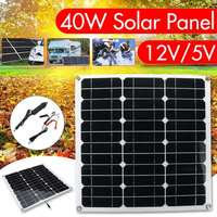 40w Portable Solar Panel Panels Solar Cells Cell Module Double USB interface12V/5V for Car Yacht Led Light Boat Outdoor Charger