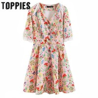 Flowers and Birds Printing Pink Mini Dress Short Sleeve Spliced Lace Summer Dress Chinese Style Elegant Lady Vestidos