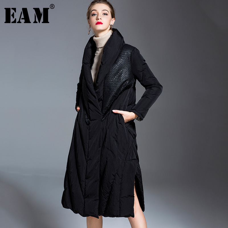 WKOUD EAM 2019 Winter Woman Black Color Spliced Stand Collar Pockets Warm Thickening Wide-waisted Down Jackets   Parkas   LD556