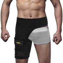 Yosoo czarny regulowany pachwina zawijany ochraniacz wzmacniający opaska na udo ulga w bólu szczep neoprenowy Hip aparaty ortopedyczne