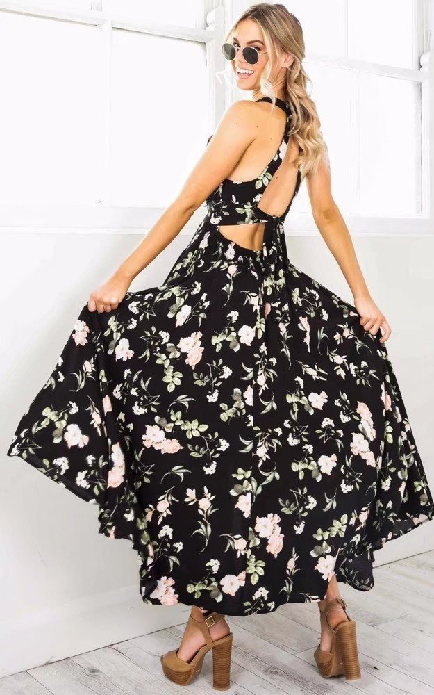 2019 impression longue robe Design Floral évider Maxi Split robe vacances taille haute grande balançoire robe dos nu robe dos nu