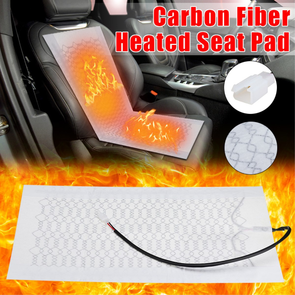 12V Heated Seats Car Seat Cover Heat Pad Carbon Fiber Heated Auto Car Seat Heating Pad for Winter Warmer Vehicle Heater Mat