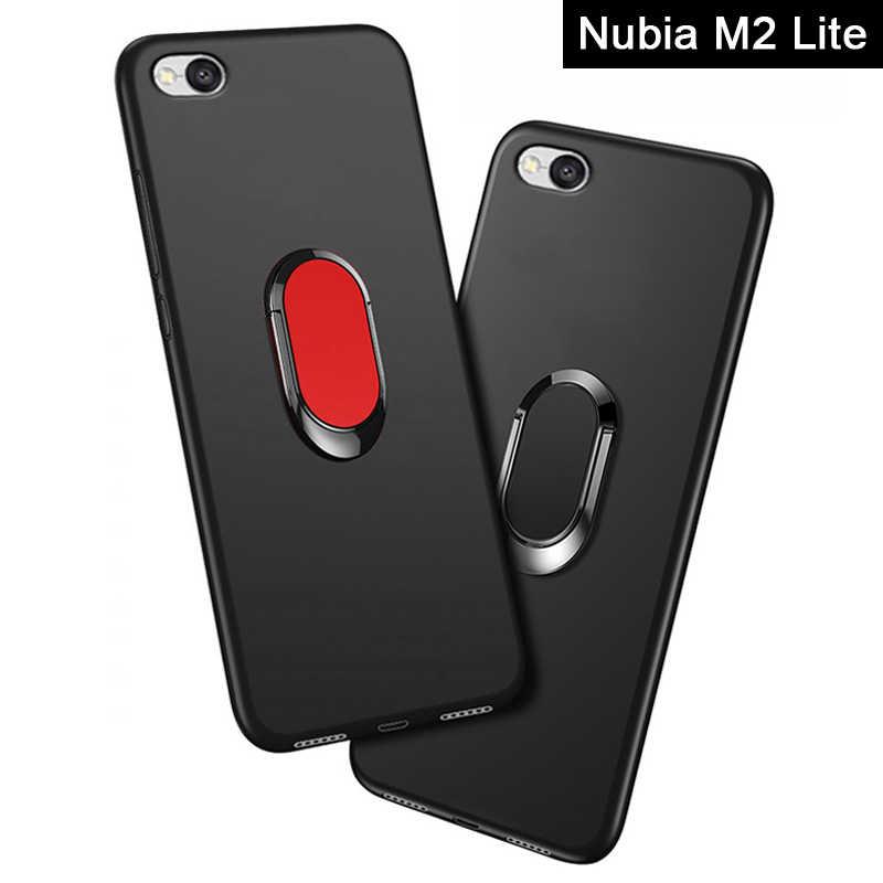 """M2 Lite כיסוי עבור ZTE נוביה M2 לייט מקרה יוקרה 5.5 """"רך שחור סיליקון מגנטי רכב מחזיק טבעת Funda עבור נוביה M2 לייט מקרי"""