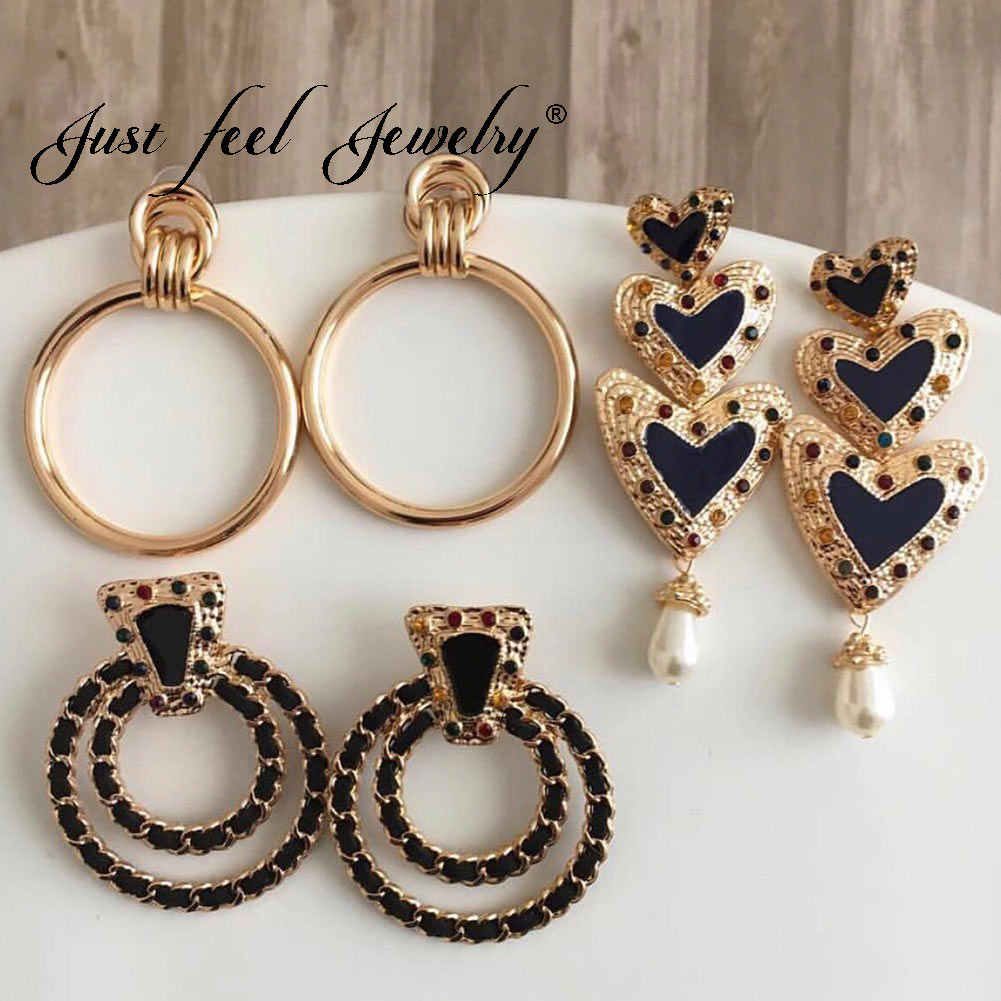 JUST FEEL ZA Round Heart Long Drop Earrings For Women Girl Boho Gold Color Vintage Maxi Dangle Statement Earring Fashion Jewelry