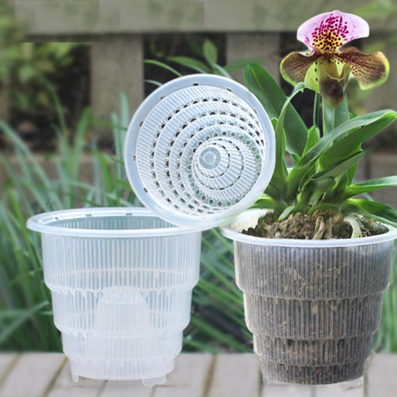Transparent Plant Flower Pot Garden Home Office Decor Planter Desktop Flower Pots Succulent Orchid PP Home Mesh Gifts Gardening