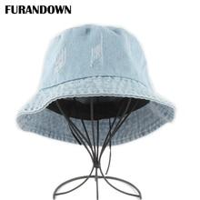 Summer Washed Denim Bucket Hat Women Fashion Sun Cap Fishing Hats For Men Cotton foldable Chapeu