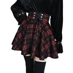 Женская винтажная клетчатая юбка с высокой талией, а-образный вырез, зимняя мини-юбка с лентами и шнуровкой для готических девочек, большие