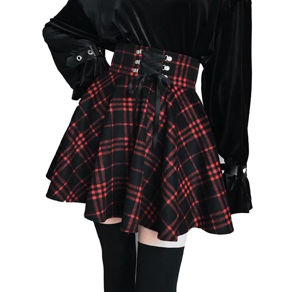 Plus Größe 4XL Vintage Plaid Rock Frauen Hohe Taille A-Gefüttert Winter Band Schnürung Mini Rock Für Gothic Mädchen