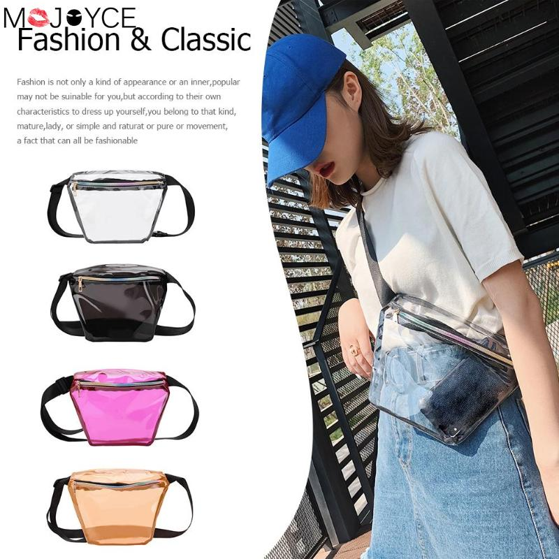 Women Casual Fanny Pack Transparent Waist Belt PVC Chest Bag Fashion Women Hip Pouch Cute Girl Soild Color Wild Waist Bag