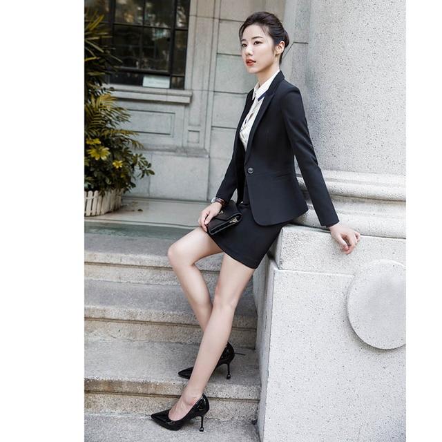 2020 Fashion Office Lady 2 Pieces Set Blazer +Elegant Skirt Or Pencil Pants Business Suit Formal Clothes Colors For Choose 4