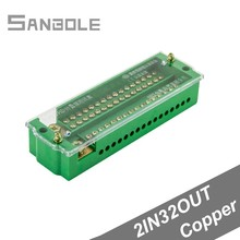 Terminal Blocks 2-in 32-out Copper Connection Box Single-phase Household Part Line Meter Lighting FJ6 Connector