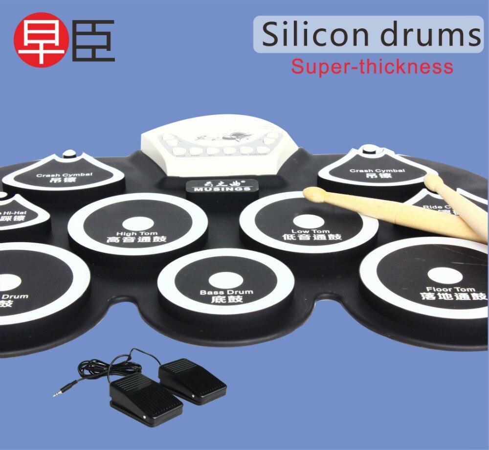 Mini kit de batterie usb en silicone tampon de pédale de grosse caisse électronique machine à jouets pour enfants avec pilons instrument de musique à percussion - 2