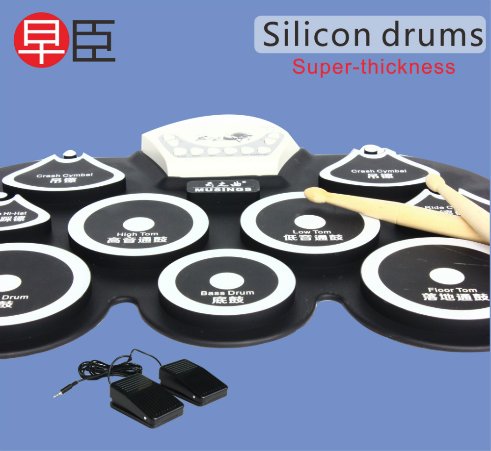 silicon mini usb drum kit electronic bass drum pedal pad kids toy machine set with drumsticks. Black Bedroom Furniture Sets. Home Design Ideas