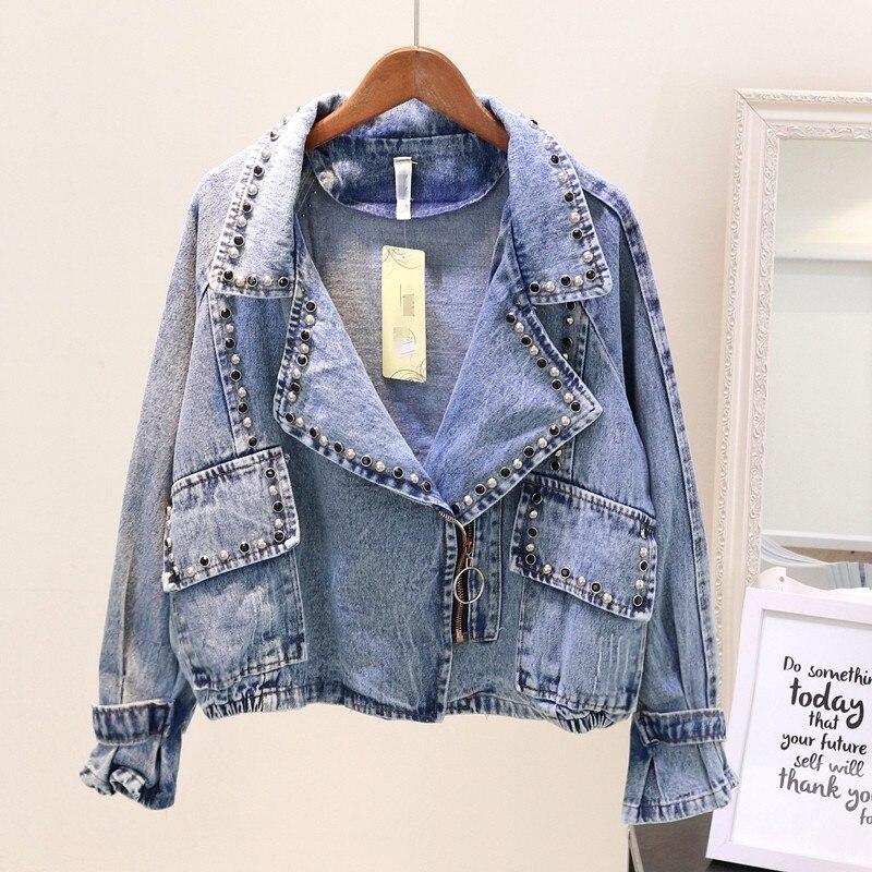 Bouton décoration denim veste femmes à manches longues mode 2019 nouveauté