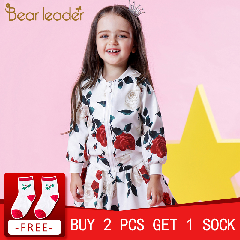 Bear Leader Girls Sets 2018 New Autumn Fashion Long Sleeve Floral Coats+Rose Floral Skirts 2Pcs Kids Clothing Sets For 3-8 Years bear leader girls skirt sets 2018 new autumn