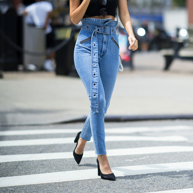 2019 Summer Fashion Europe and America Style Slim Fit Pencil Pants Pocket Decoration High Waist Trousers Women's Jeans with Belt
