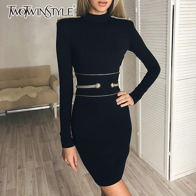 TWOTWINSTYLE Knitting Dress Female Long Sleeve High Waist Bandage Tunic Mini Dresses For Women Elegant Fashion 2018 Autumn