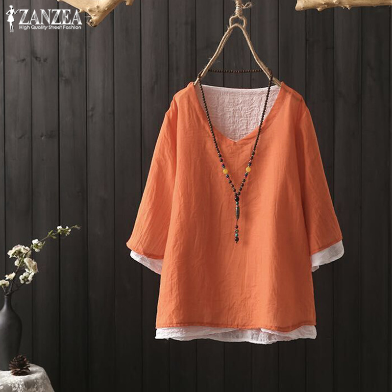 Plus Size Womens Summer Blouse 2019 ZANZEA Female Fashion V Neck Tee Shirts Vintage Half Tunic Tops Layered Baggy Blusas S-5XL