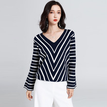 Sexy striped deep v-neck sweater women slim long sleeve stretchy pullover lady streetwear feminino spring and summer2019