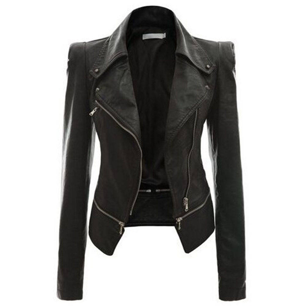 Motorcycle PU Leather Jacket Women Spring And Autumn New Fashion Coat 4 Color Zipper Outerwear jacket New  Coat HOT