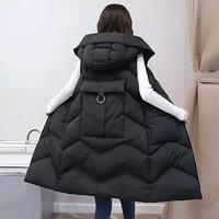 2018 winter new cotton vest female long hooded down cotton solid color large pocket loose cotton women sleeveless vest women