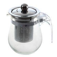 350mL Heat-resistant Clear Glass Teapot Stainless Steel Infuser Flower Tea Pot