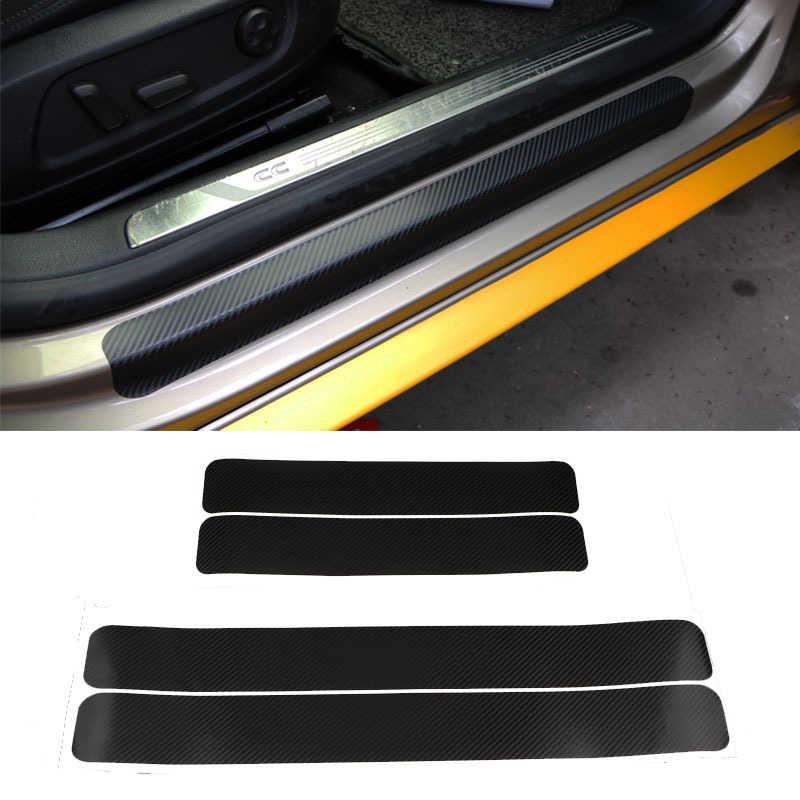 4 pçs/set acessórios do carro peitoril da porta scuff pedal bem-vindo proteger adesivos de fibra carbono