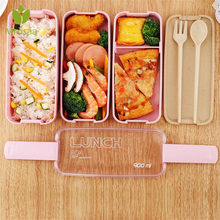 900ml Healthy Material Lunch Box 3 Layer Wheat Straw Bento Boxes Microwave Dinnerware Food Storage Container Lunchbox(China)