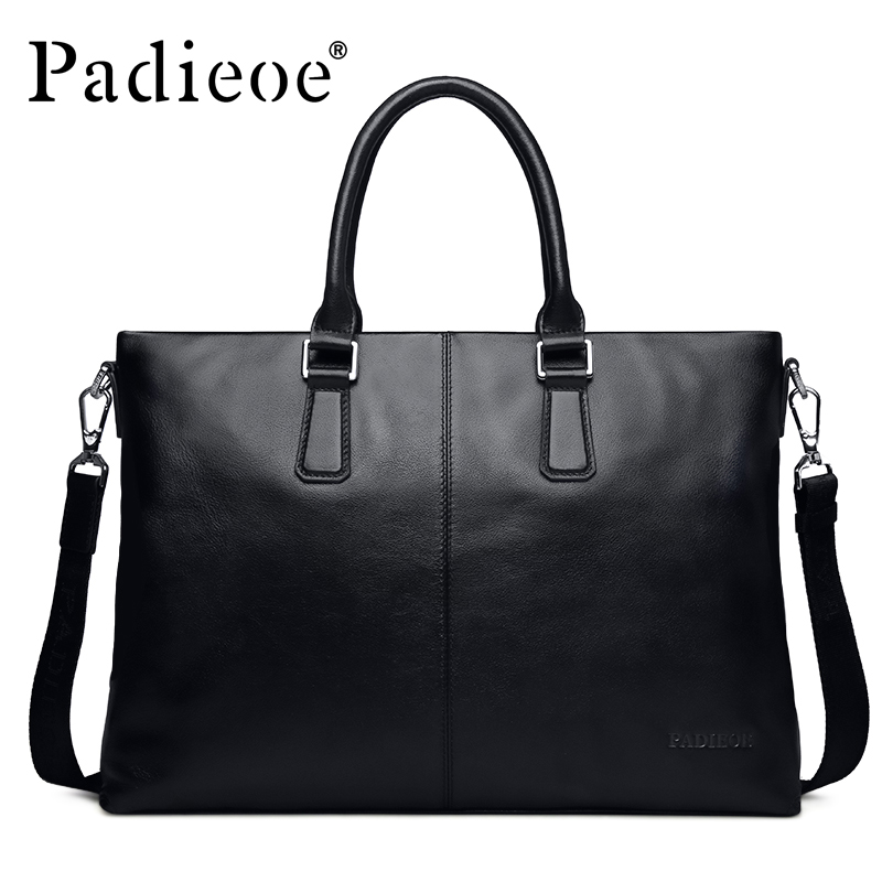 цена на Padieoe Business Famous Brand Handbag Men Shoulder Bags Briefcases Genuine Leather Tote Laptop Bag Fashion Men's Messenger Bag