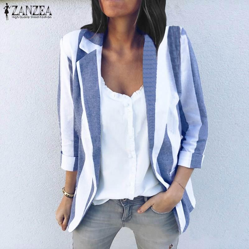 ZANZEA 2019 Spring Striped Blazers Jackets Women Suits Female Casual Top Business Work Wear Slim Coat Lady Outwear Plus Size 5XL