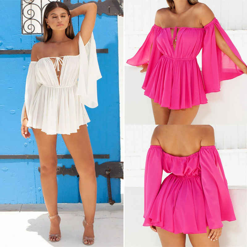Women Long Sleeve Off Shoulder Halter Loose Solid Bandage Elastic High Waist Mini 2 Style Beach Dress