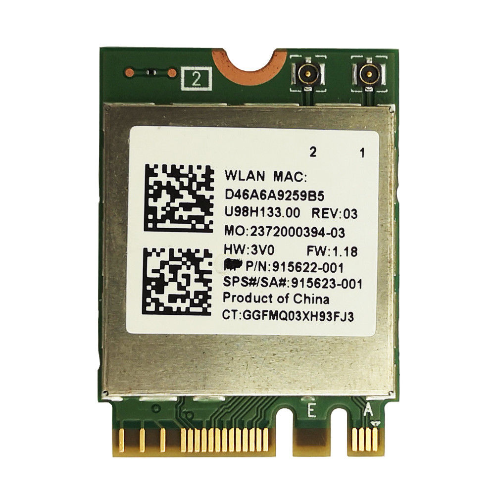 Realtek RTL8822BE IIEEE802.11AC/A/B/G/N WiFi + Bluetooth4.1 NGFF Wireless WLAN Card 2.4G/5GHz Sps :915623-001